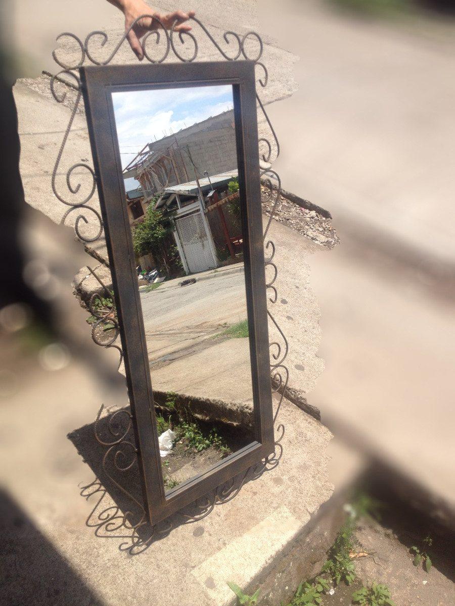 Espejo con mesita rustico a ejado metalico 50 for Espejos con marco metalico
